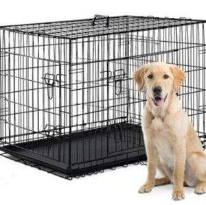FOLDING PET CRATE WITH REMOVABLE TRAY, DIVIDER